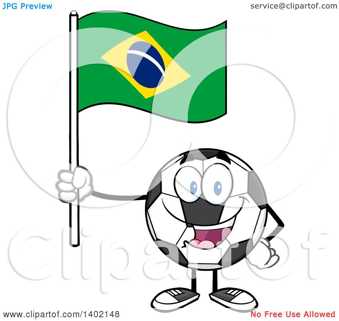 1080x1024 Clipart Of A Cartoon Soccer Ball Mascot Character Holding A Brazil