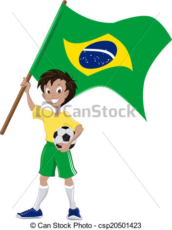 352x470 Happy Soccer Fan Holds Brazilian Flag. Illustration In Vector Format.