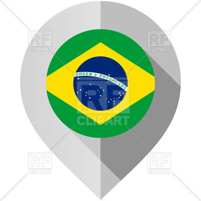 400x400 Map Marker With Flag Of Brazil Royalty Free Vector Clip Art Image