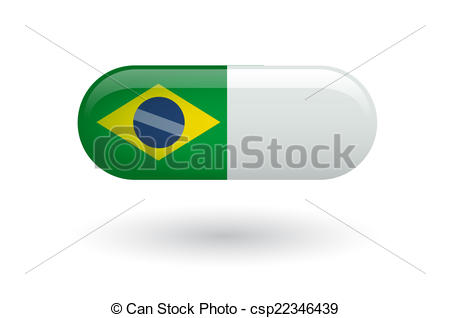 450x318 Pill With A Flag Of Brazil. Illustration Of An Isolated Pill