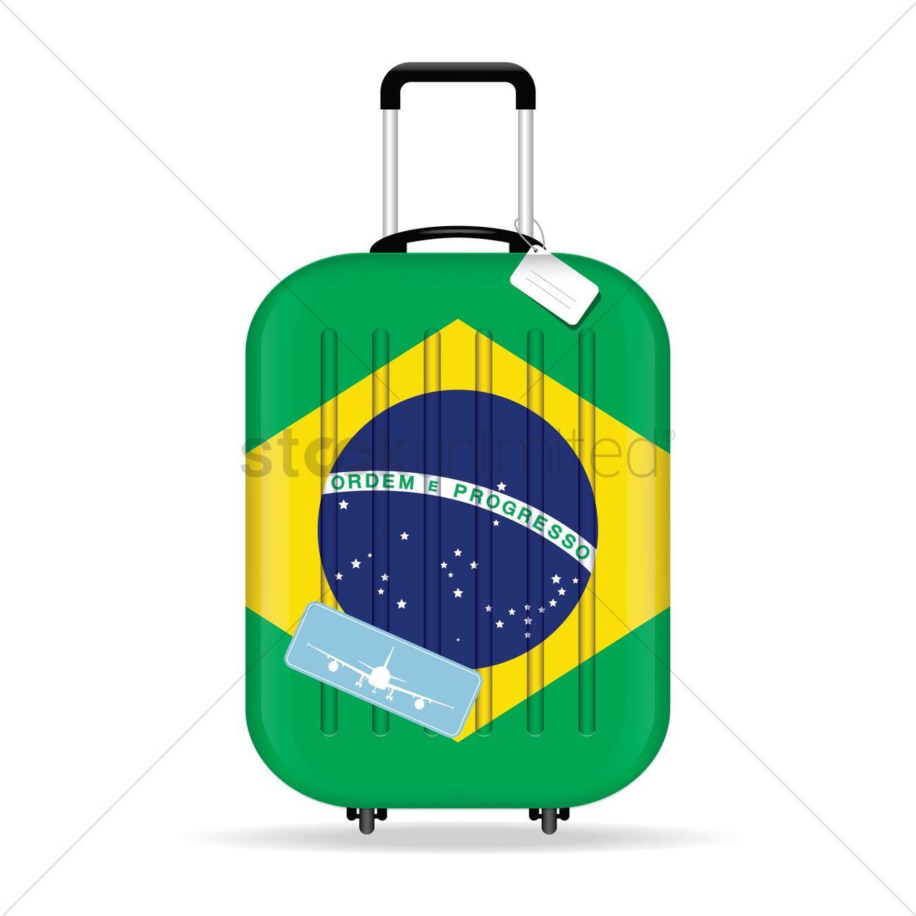 1300x1300 Travel Suitcase With Brazil Flag Vector Image