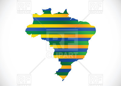 400x284 Brazil Contour With Flag Colors Royalty Free Vector Clip Art Image