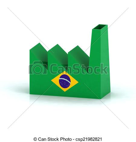 450x470 Brazil Factory Symbol Concept With Flag, 3d Illustration Clip Art