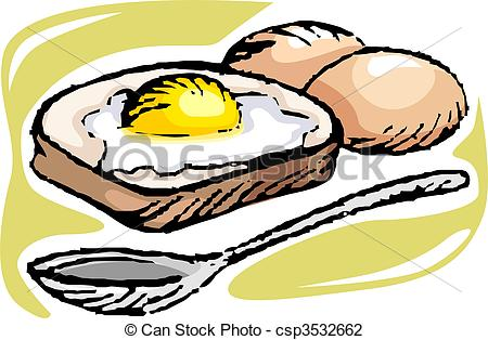450x314 Bread And Egg Illustration Of Bread With Egg And Spoon Clip Art