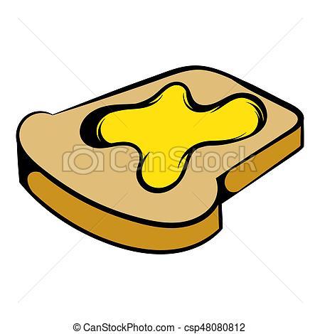 450x470 Slice Of Bread With Honey Icon, Icon Cartoon. Slice Of Bread