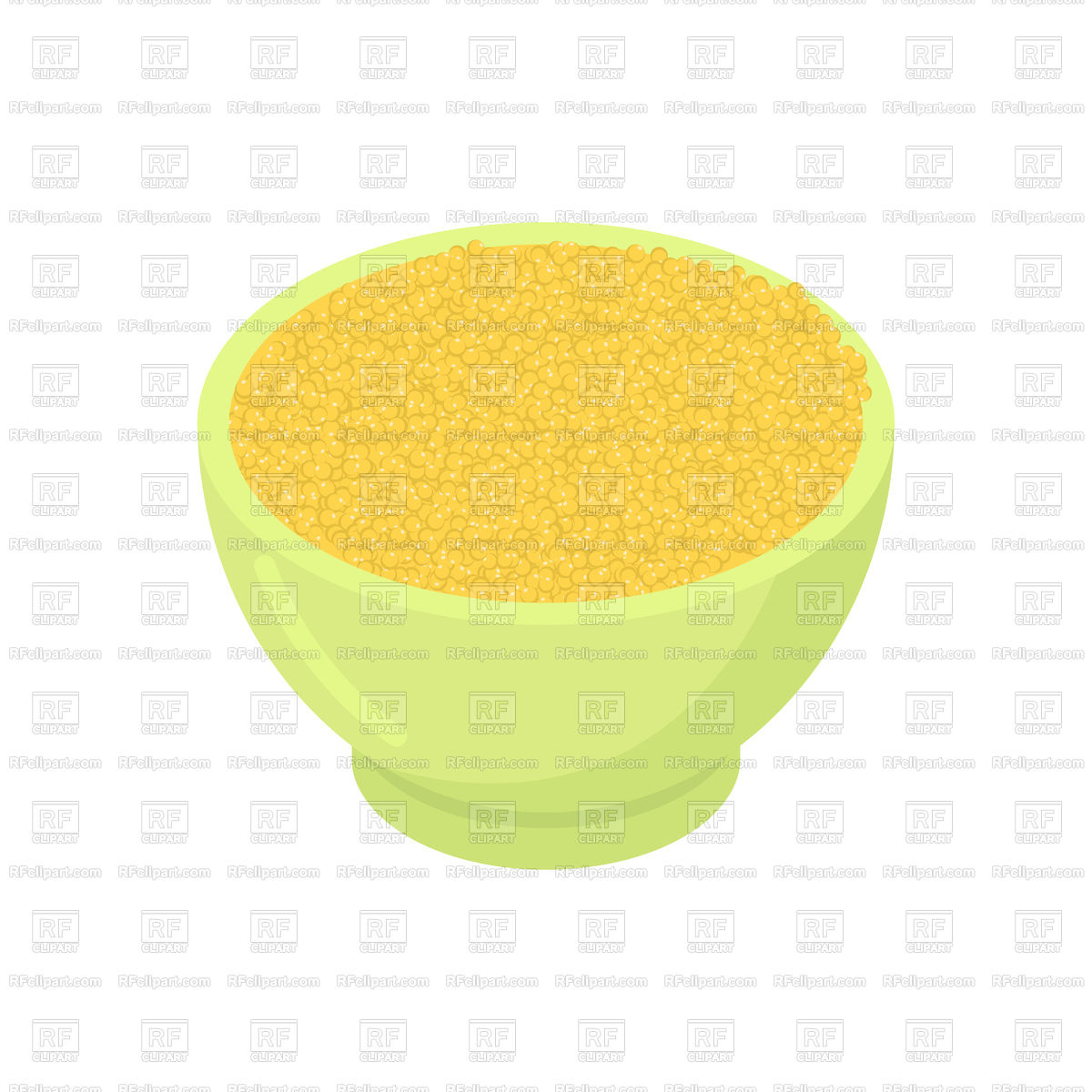 1200x1200 Bowl Of Millet Cereal Isolated. Healthy Food For Breakfast. Vector