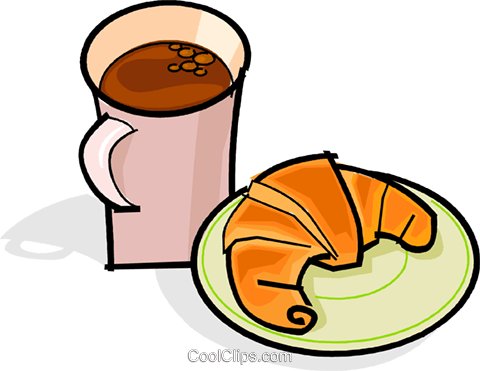 480x371 Cup Of Coffee And Croissant Royalty Free Vector Clip Art