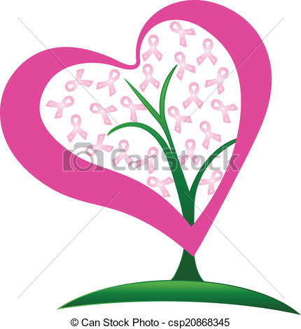 430x470 Breast Cancer Ribbons Tree Logo. Breast Cancer Ribbons Heart
