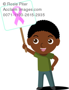 232x300 African American Boy Child Waving Sign With Pink Ribbon For Breast