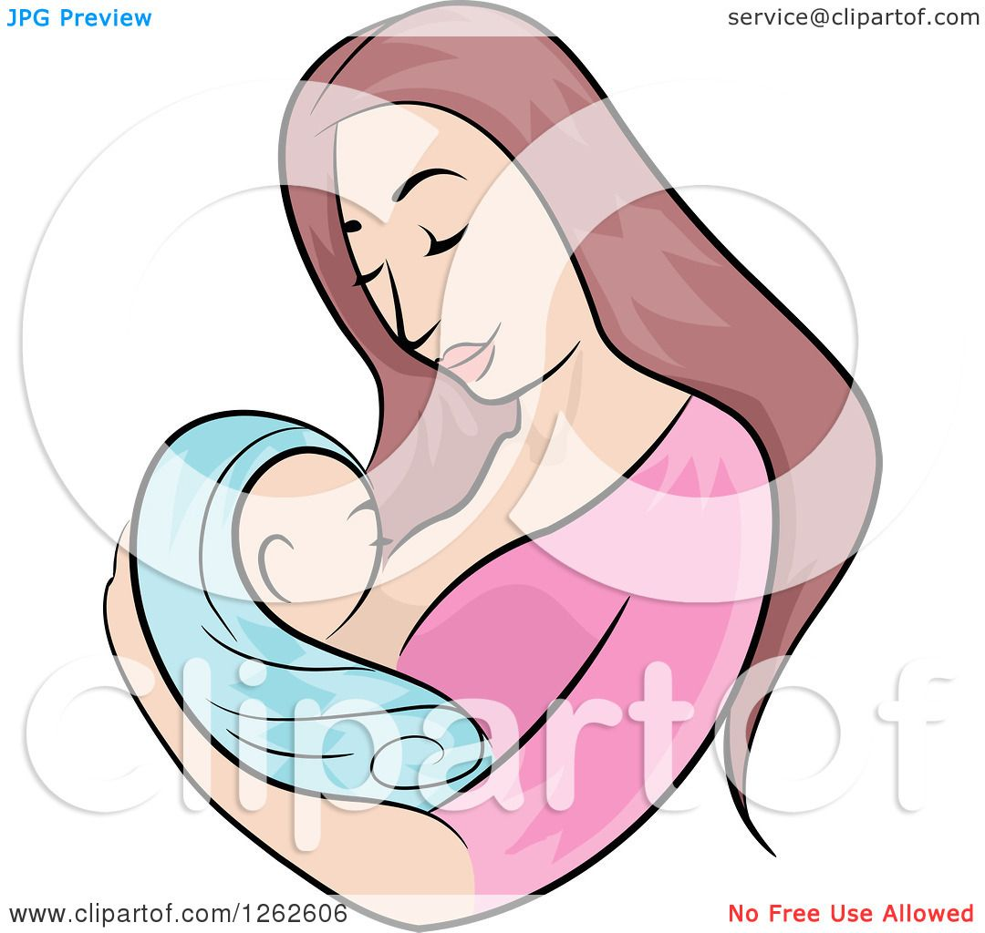 1080x1024 Clipart Of A Brunette White Mother Breastfeeding Her Newborn Baby