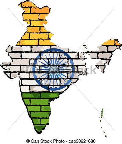 400x470 India Map On Brick Wall. Grunge Mapnd Flag Of India On