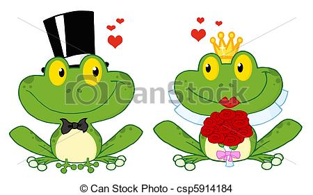 450x281 Frog Bride And Groom. Bride And Groom Frogs Cartoon Eps Vector