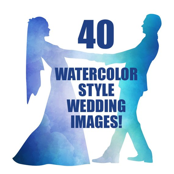 570x570 Wedding Silhouettes, Watercolor, Clipart, Wedding, Clip Art, Bride
