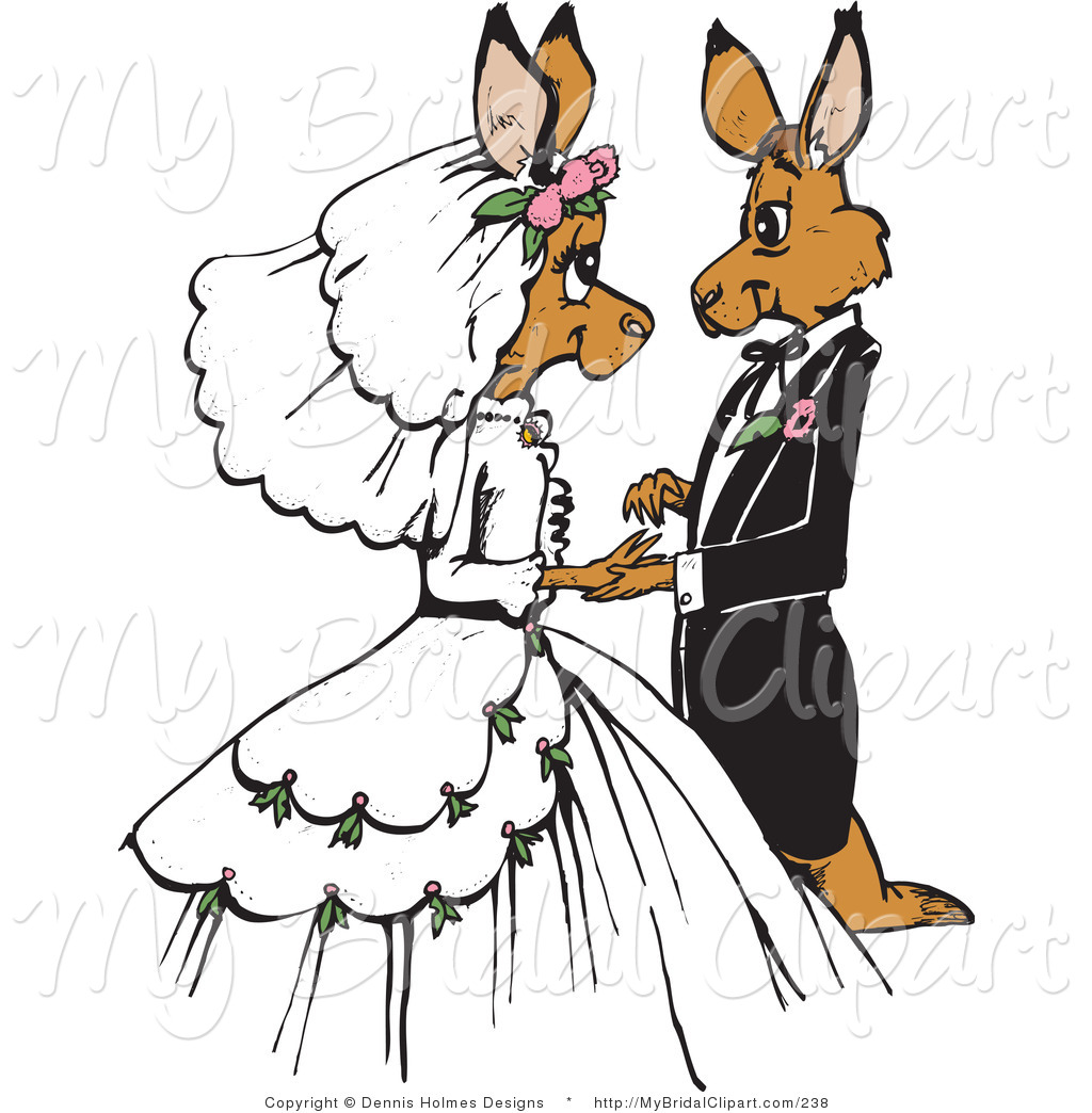1024x1044 Bridal Clipart Of A Loving Brown Kangaroo Bride And Groom Getting