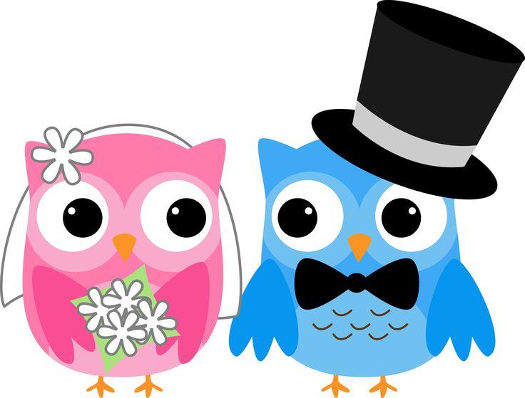 736x559 Digital Owl Bride And Groom Clipart