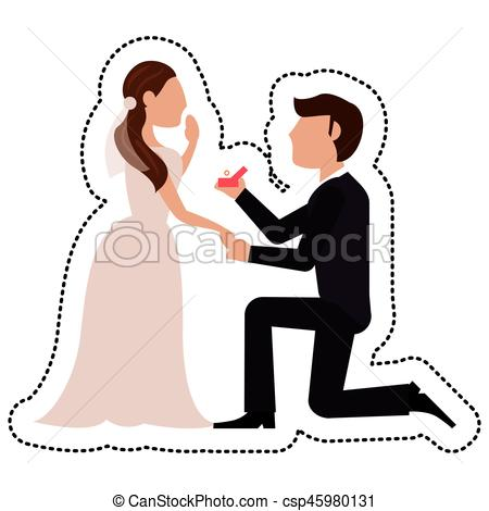 450x470 Proposal Groom Bride Wedding Vector Illustration Eps 10.