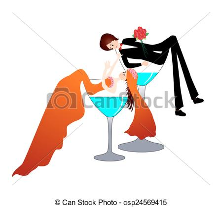 450x418 Funny Bride And Groom In A Champagne Glass Vector Clip Art