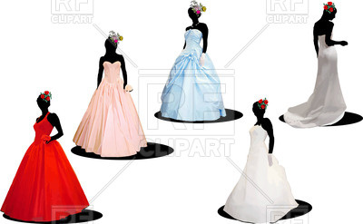400x247 Silhouettes Of Brides In Wedding Dresses Royalty Free Vector Clip