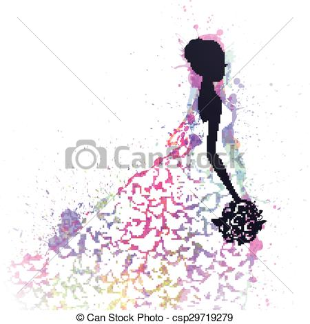 450x470 Vector Abstract Bride. Vector Illustration Of A Beautiful