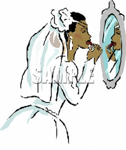 252x300 An African American Bride Applying Lipstick In The Mirror Clip Art