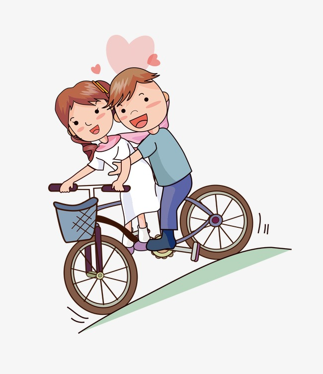 650x752 Cartoon Bride Groom, Cycle, Lovers, Vector Png Image