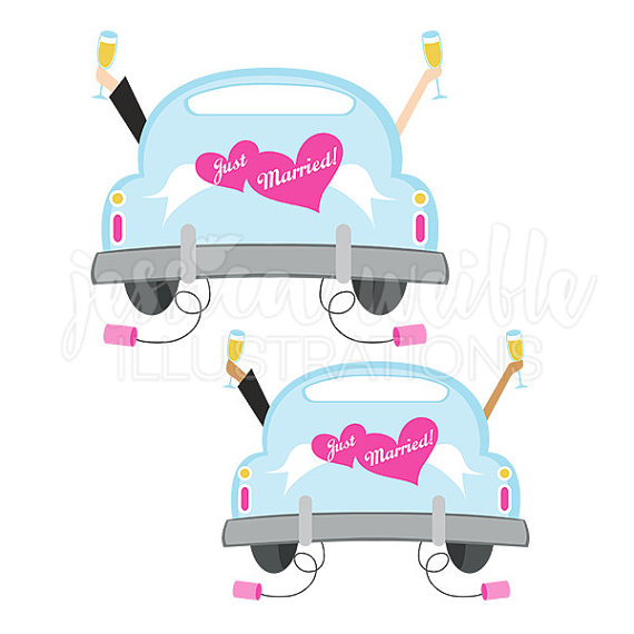 570x570 Just Married Car Cute Digital Clipart, Cute Bridal Car Clip Art