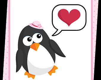340x270 Penguin Bride And Bridegroom Digital Clip Art