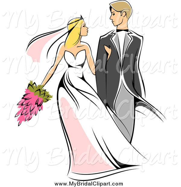 600x620 Bridal Clipart Of A Sketched Caucasian Newlywed Couple Walking