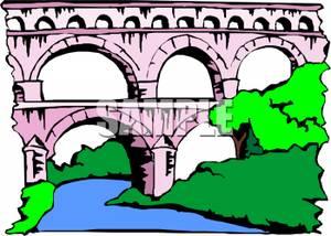 300x214 Clipart Image A Large Pink Bridge
