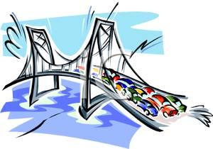 300x210 Traffic On A Suspension Bridge