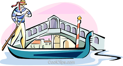 480x257 Gondola Passing The Rialto Bridge Royalty Free Vector Clip Art