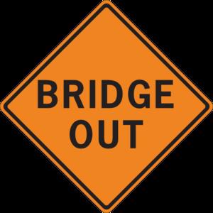 300x300 Bridge Out Sign Clip Art