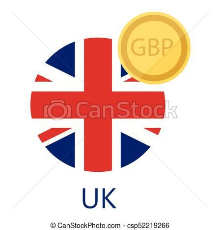 450x470 British Pound And Flag. Vector Illustration Uk Round Flag Clip