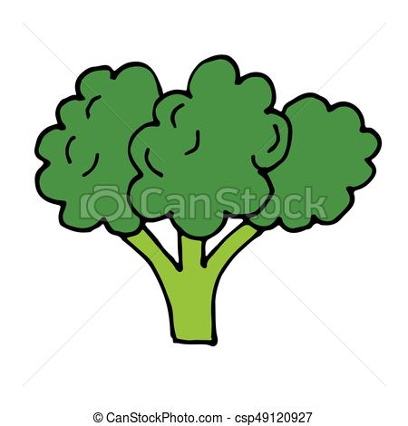 450x470 Broccoli Vegetable Vector Hand Drawn Icon On White Vector
