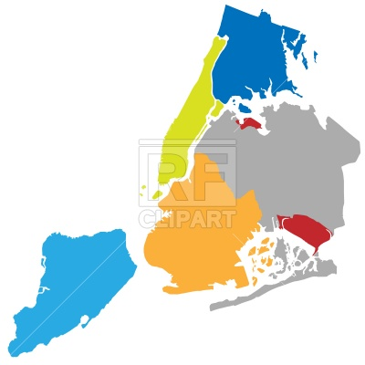 400x400 New York Boroughs Map Royalty Free Vector Clip Art Image