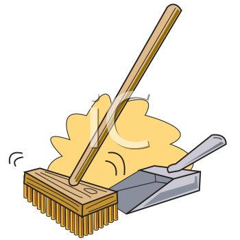 350x350 Royalty Free Clip Art Image Push Broom Sweeping Dirt Into A Dustpan
