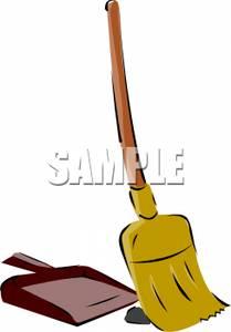 209x300 A Broom And A Dustpan Clip Art Image