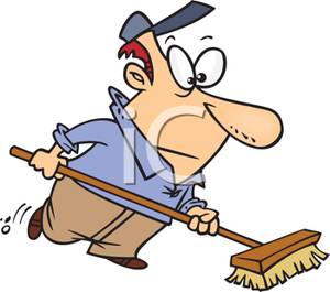 300x265 A Cartoon Janitor Sweeping With A Broom Clip Art Image