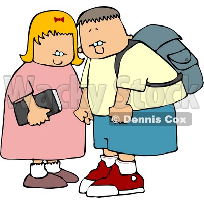 400x400 Brother And Sister On Their Way To Elementary School Clipart