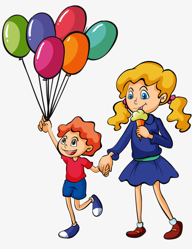 617x800 Sister Brother, Ice Cream, Balloon, Cartoon Png Image
