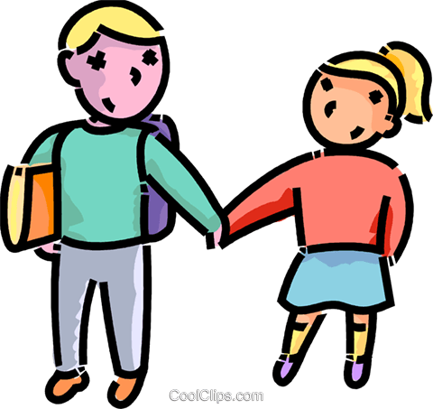 480x453 Brother An Sister On The Way To School Royalty Free Vector Clip