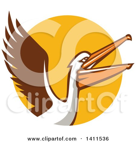 450x470 Clipart Of A Retro Pelican Bird Holding A Basketball In A Brown