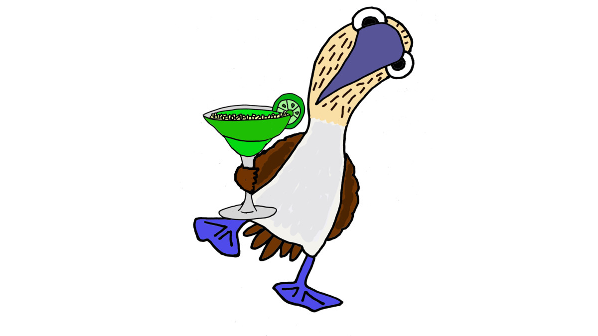 1200x675 Funny Blue Footed Booby Drinking Margarita T Shirt By Smiletoday