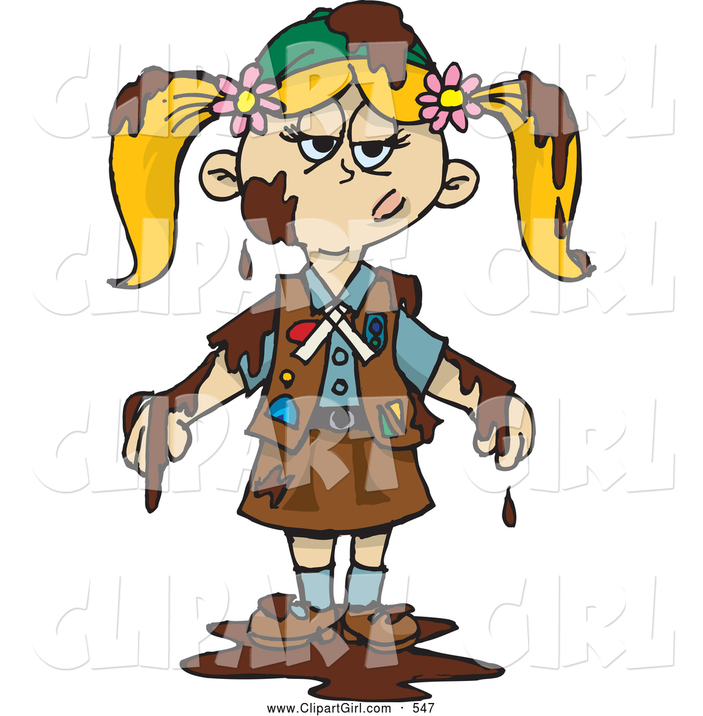 1024x1044 Clip Art Of A Grumpy Blond Girl Scout Covered In Mud Or Chocolate