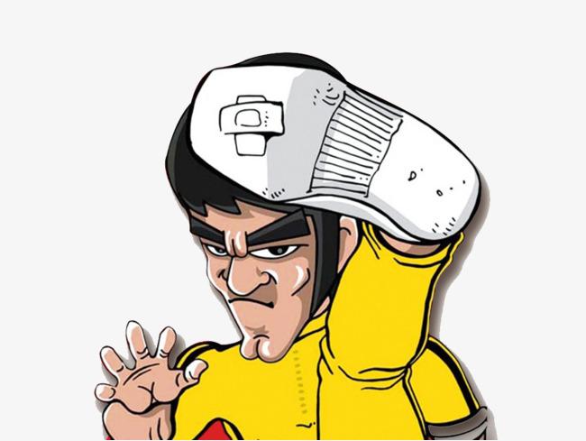 650x489 Bruce Lee High Kick Cartoon Shape, Bruce Lee, High Kick, Cartoon