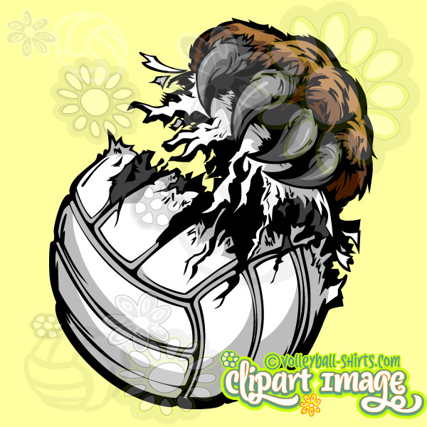 600x600 Bear Claw Volleyball Clip Art