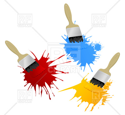 400x369 Painting Brushes Leave Blots Royalty Free Vector Clip Art Image