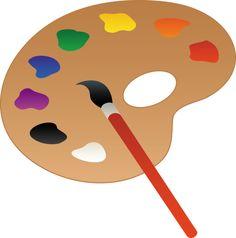236x238 Palette And Paint Brush Line Art