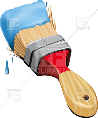 334x400 Rough Wide Paint Brush With Blue Paint On Bristles Royalty Free
