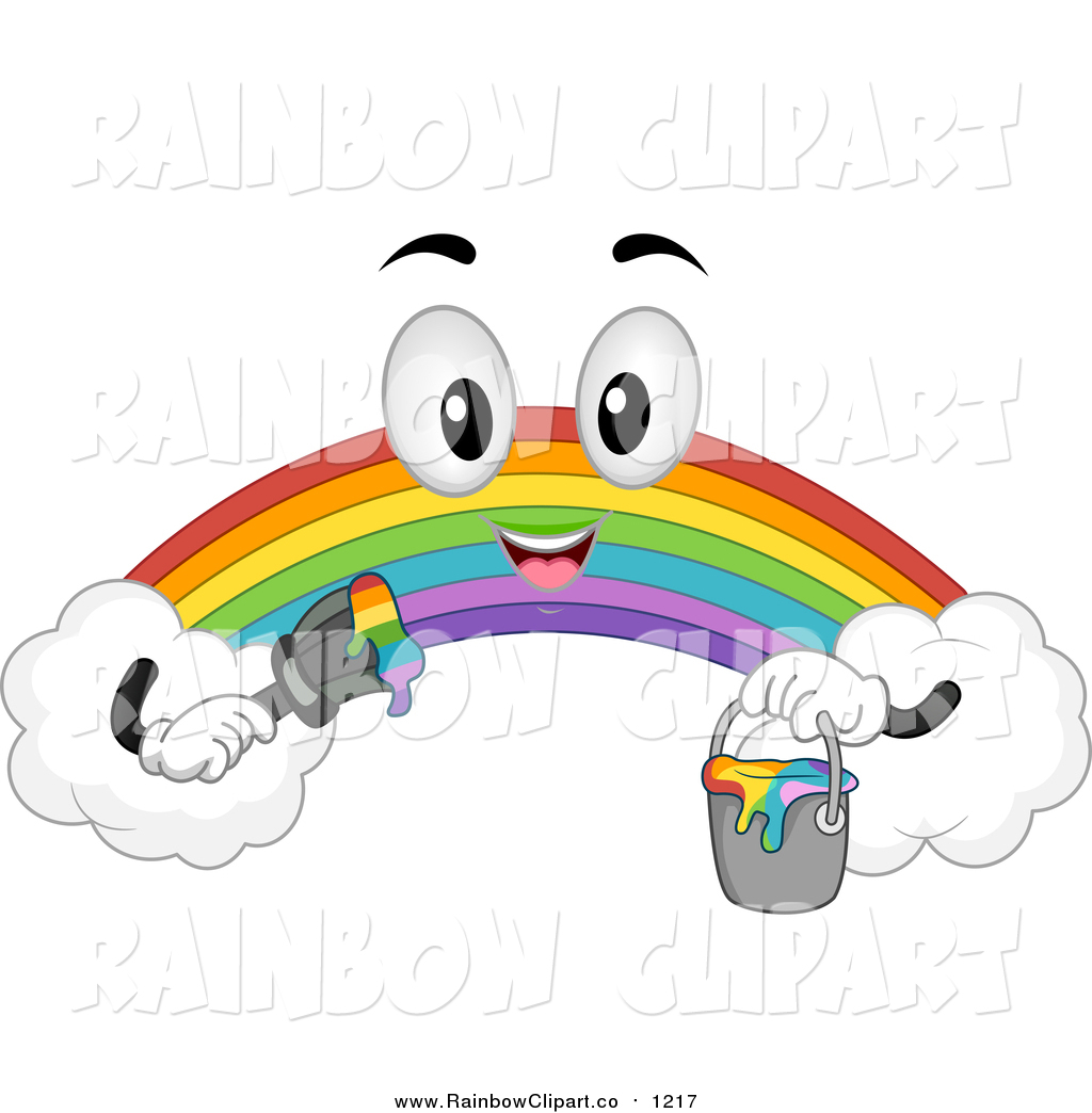 1024x1044 Vector Clip Art Of A Rainbow Character Holding A Paint Bucket